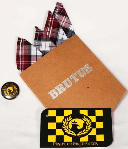Brutus Burgundy/Yellow/Navy Tartan handkerchief