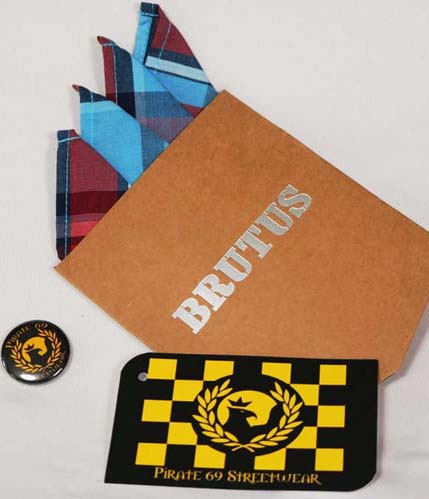 Brutus Herritage Light Blue Tartan handkerchief