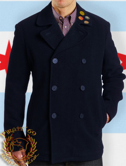 Navy Blue Wool Naval Pea Coat