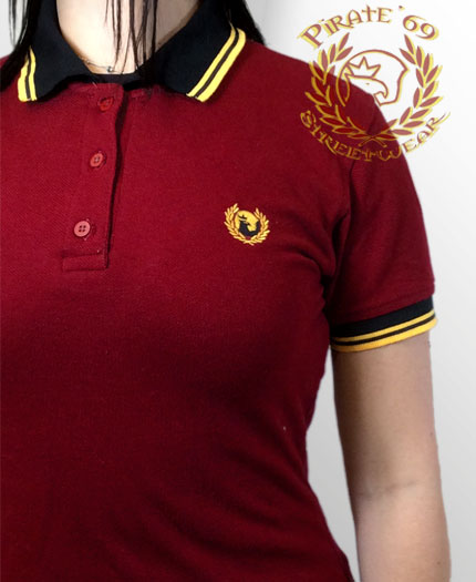 Pirate 69 Hawk Wreath Skinhead Girl Twin Tipped Polo Shirt