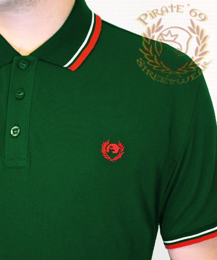 Pirate 69 Hawk Wreath Skinhead Twin Tipped Polo Shirt