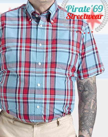 Brutus GreatFit Heritage Light Blue and Red Tartan Shirt