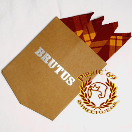 Brutus Brick Red Tartan Shirt handkerchief